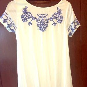 Women's XS white dress blue detail LuLu